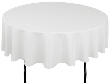 90 in. Round Polyester Tablecloth White Clothing