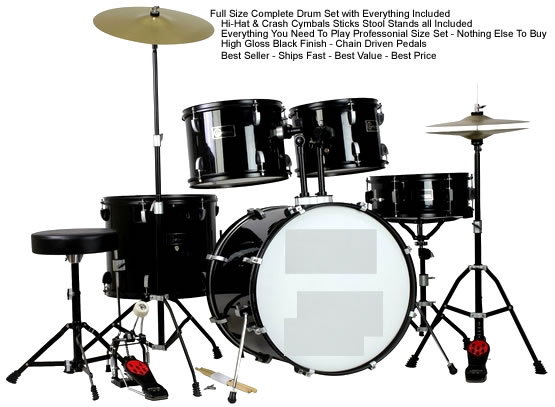 New Drum Set Black 5 Piece Complete Full