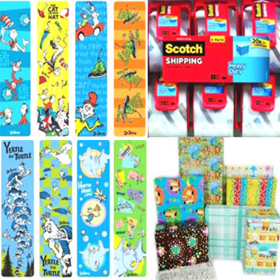 gift wrapping wrap paper and gift bags, boxes, tissue, ribbon and bows