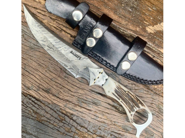 Steel Hand Forged Damascus Hunting Knife